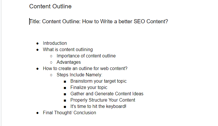 Gathering Content Ideas in a Google Docs